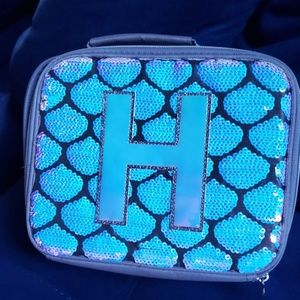 Justice sequin initial H lunch pale